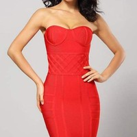 Red Textured Bandage Mini Dress