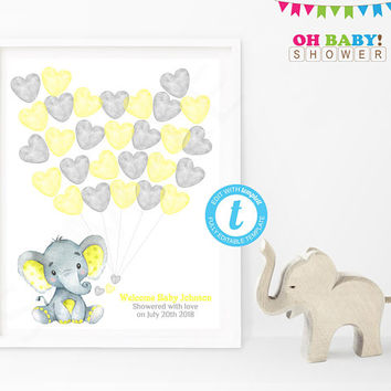 Guest Book Template, Yellow Elephant Baby Shower Guest Book, Guest Book Alternative, Watercolor, Printable Guest Book Template Yellow Gray