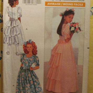 SALE Uncut 1980's Butterick Sewing Pattern, 4529! 12-14 Girls/Kids/Children's Flower Girl Formal Dresses/Pageant Dress/Back Ruffle Flared Dr