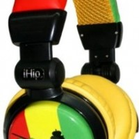 iHip DJRASTAHP DJ Style Rasta Headphones - Red/Yellow/Green/Black (Discontinued by Manufacturer)