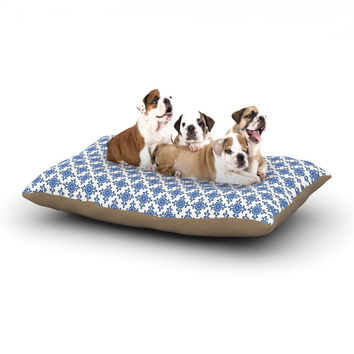 "Carolyn Greifeld ""Bohemian Blues III"" White Blue Dog Bed"