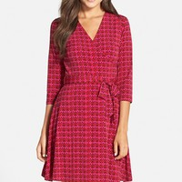 Women's Leota Print Jersey Faux Wrap Dress,