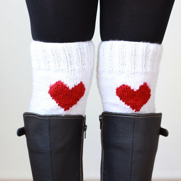 SALE Coupon - Knit heart boot cuffs, Women leg warmers, White boot cuffs, Heart Knit cuffs, Knit boot toppers, Heart boot socks