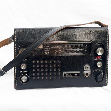 Vintage Portable Radio in Carrying Case, Nova Tech Pilot II VHF Broadcast Radio; Industrial Man Decor