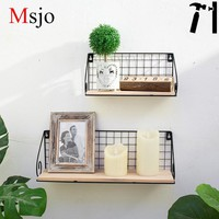 Msjo Industrial Modern Storage Holders Iron Solid Wood Racks For Retro Cafe Home Office DIY Decoration Iron Storage Shelf