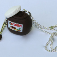 Miniature food jewellery kawaii Nutella jar spoon chocolate lover necklace bag charm romantic gift gift for her Handmade polymer clay
