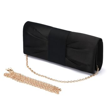 Women's Evening Clutch Shoulder Bag Ladies Satin Wedding Bag Purse