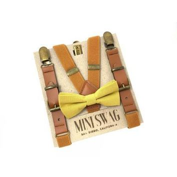Mustard Bow Tie & Camel Leather Suspenders Set