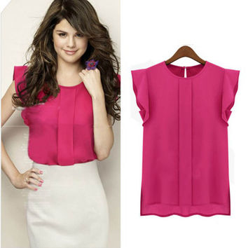 Chiffon Blouse Shirt S-XL