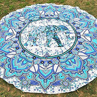 Jaipurhandloom Indian Mandala Round Roundie Beach Throw Tapestry Hippy Boho Gypsy Cotton Tablecloth Beach Towel , Round Yoga Mat