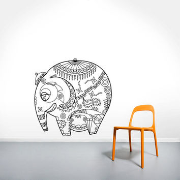 Wall Decal Vinyl Sticker Decals Art Home Decor Design Murals Indian Elephant Floral Patterns Mandala Tribal Love Ganesh Bedroom Dorm AN462