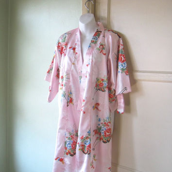 Unworn/Deadstock Vintage Pink Kimono Robe - Large Pink Asian Robe - Madame Butterfly Robe - Bohemian Robe - Pink Japanese Robe - Sexy Robe