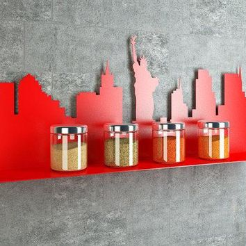 Amazing Laser Cut New York United States Silhouette Decorative Metal Shelf   Functional Wall Decor
