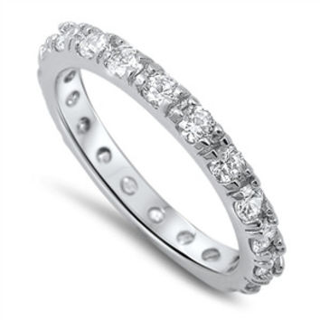 925 Sterling Silver CZ Eternity Ring 4MM