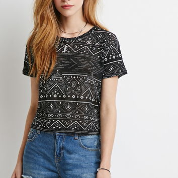 Tribal Print Boxy Tee | Forever 21 - 2000184710