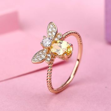 ZHE FAN Oval Yellow Color Ring For Teen Girls High Quality AAA CZ Stone Rhodium Gold Color Plated Fashion Bees Ring Size 5-10