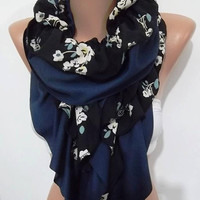 NEW Super Elegant and feminine scarf  dark blue