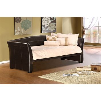 Twin size Brown Faux Leather Upholstered Daybeds with Wood Slats