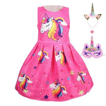 Baby Summer Princess unicorn mask party Dresses Children Clothing For Girls Halloween Birthday Party Vestidos Christmas Dress