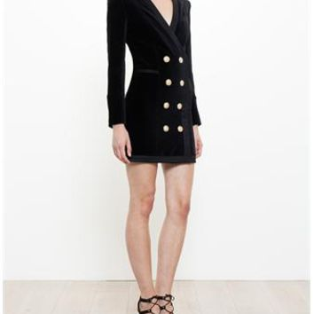 BALMAIN | Buttoned Jacket Dress | brownsfashion.com | The Finest Edit of Luxury Fashion | Clothes, Shoes, Bags and Accessories for Men & Women