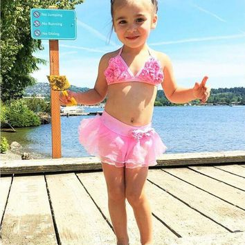 DCCK7N3 Two-piece Baby Girls String Swimsuit Little Girl Flower Swimmable Swimsuits Skirt Bikini  Bathing Suit Costume Swimwear Clothes