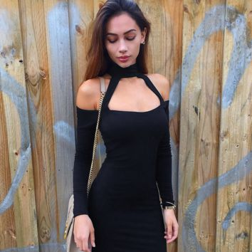SEXY STRAPS LONG SLEEVE DRESS