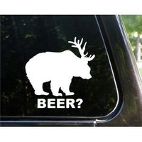 "Bargain Max Bear + Deer = BEER? Funny Vinyl Decal Sticker Decal Notebook Car Laptop 5.5"" (White)"