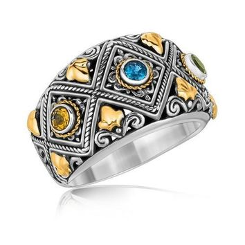 18k Yellow Gold and Sterling Silver Ornate Ring with Multi Gemstone Accents, size 7
