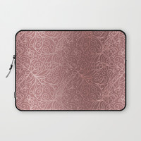 Rose Gold Floral Garden Laptop Sleeve by Tanyadraws