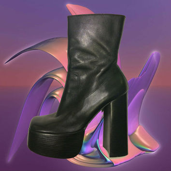 Mega Heel Black Leather Platform Boots / 90's Club Kid Sky High Platforms / Stacked Cyber Goth Boots / Spice Girl Catwoman Disco Ankle Boot
