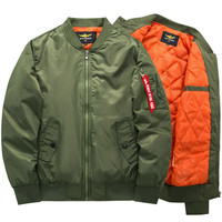 Freelee 2017 High Quality Ma1 Thick Winter Army Green Military motorcycle Ma-1 Flight Jacket Pilot Air Force Men Bomber Jacket