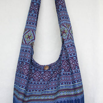 YAAMSTORE thai northern art graphic navy blue hobo bag sling shoulder crossbody hippie boho purse