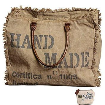 Mona B Handmade Stamped Upcycled Canvas Bag M-1824 with Coin Purse