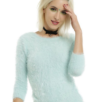 Mint Fuzzy Girls Sweater
