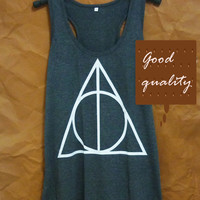 Cute tank top Harry Potter shirt racerback tank Deathly Hallows tank top size S M L XL XXL sleeveless top/ singlet/ t shirt/ sale clothes
