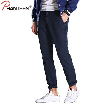 Phanteen High Quality Cotton Man Pants Straight Overall Casual Plus Size Cargo Pant Fashion Multicolor Jogger Brand Men Trousers