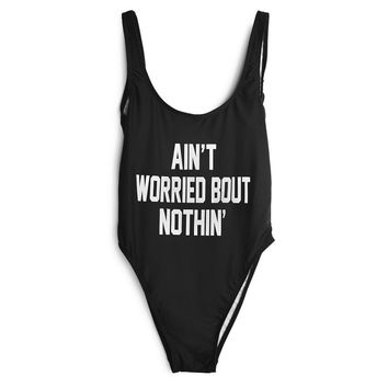 Ain't Worried Bout Nothin Black High Cut One Piece Bathing Suit