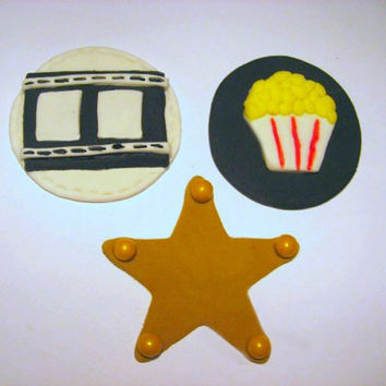 Movie Time Fondant Cupcake Toppers. Set of 12 (one dozen)