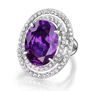 Womens Fashion Little Crystals Rings With Big Purple Amethyst Ring 18K Gold GP Women Girl Jewelry Gift R1775
