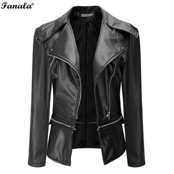 Leather Zippered 2017 Women's Slim Fit Motorcycle Soft Synthetic Jacket/Coat