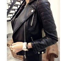 2016  New Fashion Women Faux Soft Leather Jackets HOT Autumn Winter Pu Black Blazer Zippers Coat Motorcycle Outerwear
