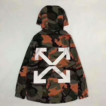 Kalete Off white Fashion Camouflage Hooded Zipper Cardigan Sweatshirt Jacket Coat Windbreaker Sportswear I-CN-CFPFGYS
