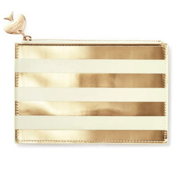 Pencil Pouch in Gold Stripes by Kate Spade New York