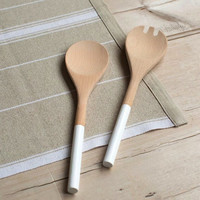 Dipped white wooden salad servers