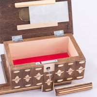Transylvanian Hinged Trinket Wooden Jewelry Puzzle Box w/ Lock Key Brown