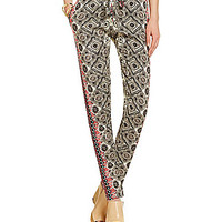 Michael Stars Border-Print Tapered Pants - Ivory/Black