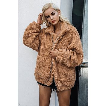 Shag Faux Lambs Wool Oversized Coat