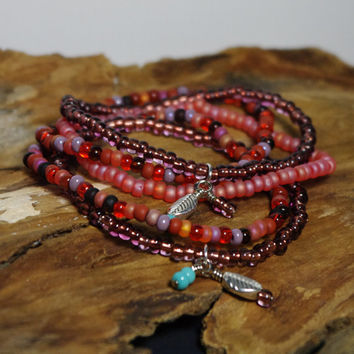 Orange and Amethyst Beaded Bohemian Stack Bracelet Set with Silver Feather Dangles