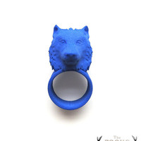 Blue Wolf Ring Wolves Animal Head Ring by TheRogueAndTheWolf