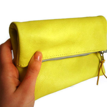 Leather clutch, neon yellow, foldover genuine leather yellow lemon clutch